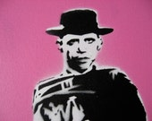 The Good, The Bad and The Obama: Original Stencil on Canvas