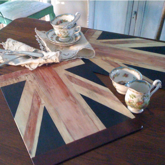 handpainted union jack british flag cork original art place mats