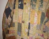 Vintage Indonesian Patchwork Boho Jacket Womens button & zipper front