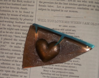 Vintage Puffed Heart Pin Copper & Titanium Modern Abstract