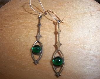 Vintage Brass Earrings w/ Emerald Green Stone