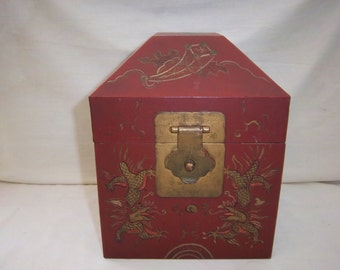 Vintage Metal Chinoiserie Red Painted Box Made in Italy