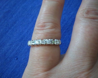 Vintage Diamond Ring Platinum Band w/ Round & Baguette Stones JUST REDUCED!