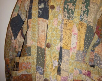 Vintage Indonesian Patchwork Boho Jacket Womens button & zipper front