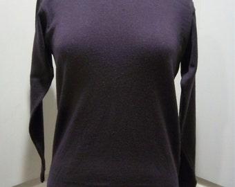 Vintage Merino Wool Womens Sweater Italian size S Eggplant
