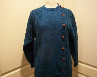 Vintage Wool Assymetrical Long Sweater Deep Teal Anne Klein size M w/ leather buttons