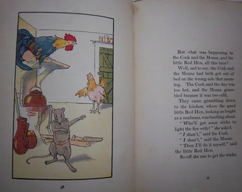 "Antique Children's Book ""The Cock, The Mouse and The Little Red Hen"" c. 1930 w/ color plates"