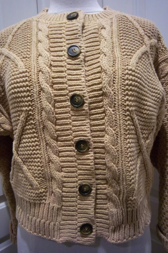 Vintage Gold Cotton Chunky Cardigan Womens Med. by Erik Stewart