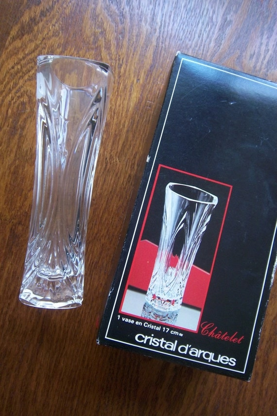 vintage lead crystal vase french cristal d 39 arques 6 by. Black Bedroom Furniture Sets. Home Design Ideas