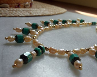 Peach Freshwater Pearls & Czechoslovakian Glass Necklace - Matching Bracelet - April Birthstone Pearl