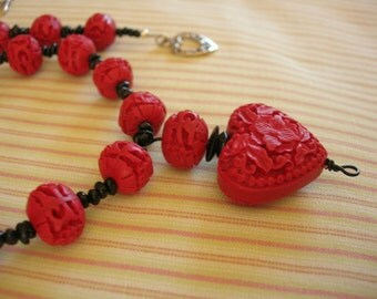 Cinnabar Bead & Red Heart Pendant Necklace - Gifts Under 75.00 USD - Gifts Under 100.00 USD - Love My Funny Valentine