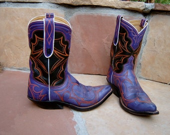 Purple & Black Leather Cowboy/Cowgirl Boots Custom Hand Made to your feet/foot