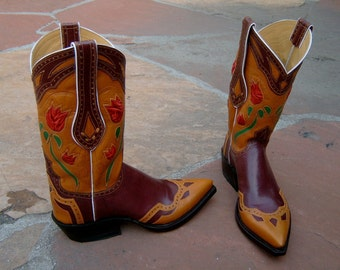 Burgundy & Cognac Leather Cowboy/Cowgirl Boots Custom Hand Made to your feet/foot