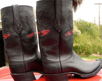 Motorcycle/Engineer style Square Toe Black Leather Boots Custom Hand Made to your feet/foot