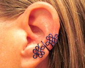 "Non Pierced ""Double Celtic Knot"" Ear Cuff 1 Cuff - Color Choices"