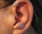 "No Piercing Sterling Silver Handmade Helix Cuff Ear Cuff ""Spiral Up"" Swirls"