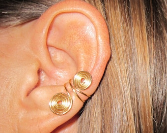 Non Pierced Double Spiral Ear Cuffs 1 Cuff - Color Choices