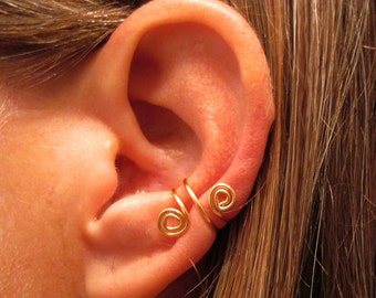 Non Pierced Brass Petite Spiral Ear Cuffs 2 Cuffs - BRASS