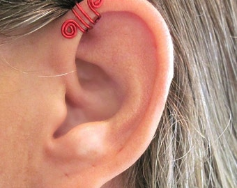 "No Piercing ""Double Up"" Ear Cuff for Upper Ear 1 Cuff - Color Choices"