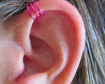 "No Piercing ""Triple Loops"" Ear Cuff for Upper Ear 1 Cuff Color Choices"
