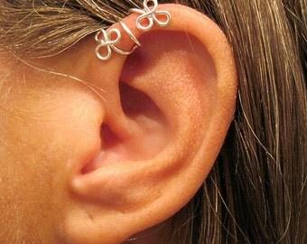 """No Piercing Sterling Silver  Helix Cuff Ear Cuff  """"Twining Shamrocks""""1 Cuff"""