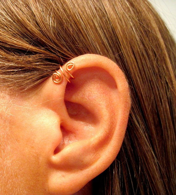 "No Piercing Handmade Helix Cuff Ear Cuff ""Spiral Up"" 1 Cuff - Color Choices"
