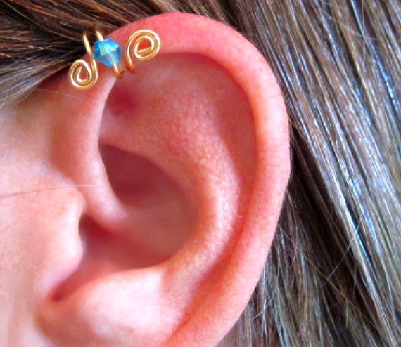 """No Piercing """"Crystal Up"""" Ear Cuff for Upper Ear or Tragus 1 Cuff - Color Choices Cartilage"""