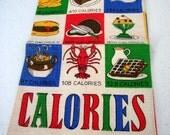 Vintage Linen Towel Colorful Kitchen Fare - Nautical Lobster