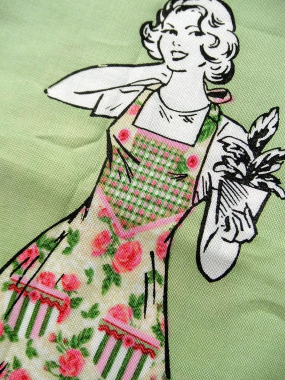 Daisy Kingdom Retro Rose Apron Kit - Cut and Sew - Easy Sewing Project - Cottage - French - Shabby Chic