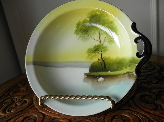 Noritake Handled Lemon Dish - Vintage Hand Painted Landscape - 1920s China - High Tea - Victorian Brunch