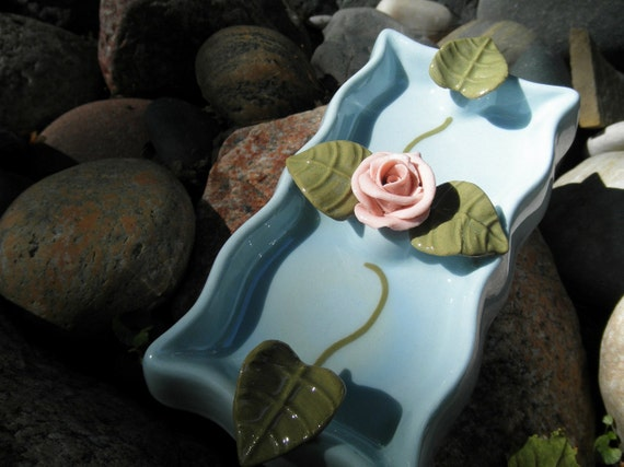 Dresser Tray - Shabby - Cottage - French Chic - Porcelain Hand Shaped Rose and Leaves - Powder Room Accent