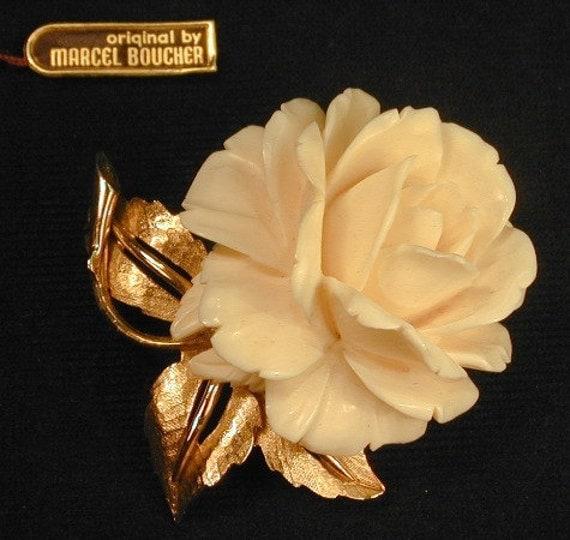 Marcel Boucher 7902P Ivory Flower Rose Brooch
