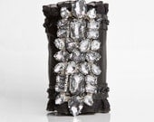 Black Leather Sparkling Rhinestone Wallet Cuff - Star Light