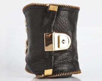 Black Leather Cuff Carry All - Kitt