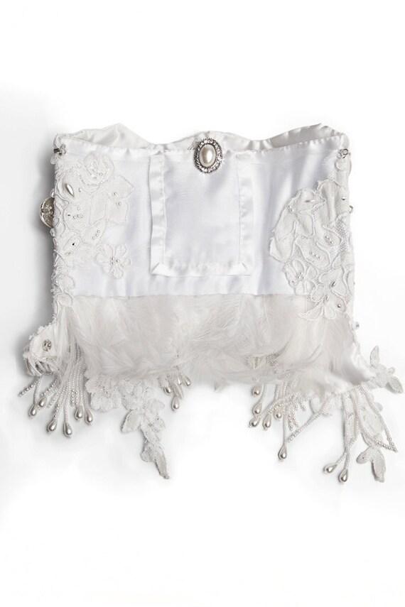 Bridal Accessories, White Wedding Cuff, Heirloom Piece, Pearl Wallet Cuff, Lace Feather Accessory, Bridal Keepsake, Clutch Alternative
