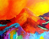 """Tahquitz BentBeamArt Original Polychrome Psychedelic Mountain Painting 12"""" X 16"""""""