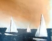 "Ocean Breathes Salty BentBeamArt Original Nautical Sailboat Painting 16"" X 20"""