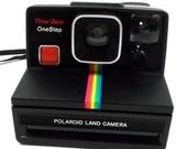 Polaroid One Step Time Zero // Rainbow Black Design Vintage Camera