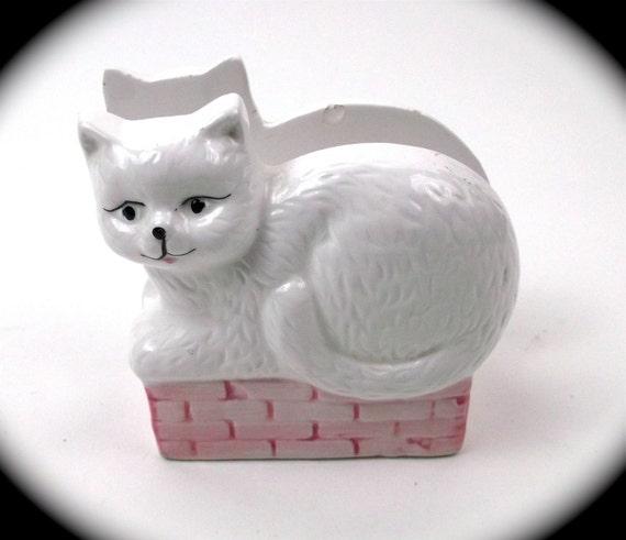 LETTER// NAPKIN Holder  pretty white  KITTY // cat// animal // storage// organization