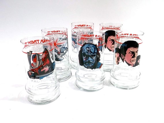 Sale /// half off // STAR TREK set of SIX Glasses // Perfect Condition