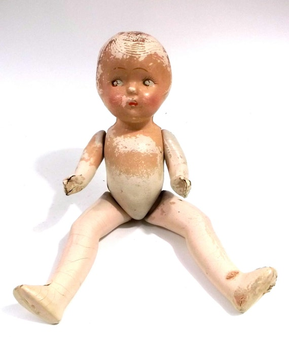 Reserved /// JOINTED DOLL // 1920s 1930s old HAUNTED creepy Doll with spring loaded arms and legs