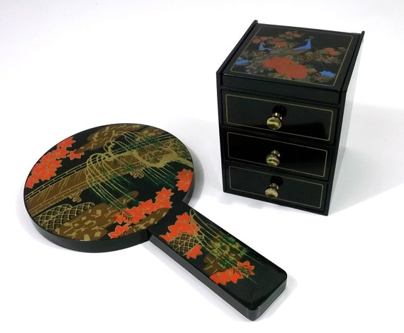 Peacock Themed Japanese Painted Hand Mirror and Jewelry Box Set 1960s Vintage Laquer ware