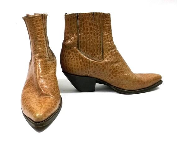 Leather Tooled Alligator Caramel Brown Ankle Boots // Rocker Grunge // Beatle Mod // Mens Wear Dress Shoes