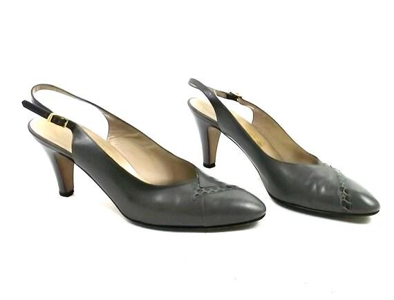Ferragamo Vintage Heels // leather  sling back // size 9 womens // vintage 1980s clothing // geometric snake skin
