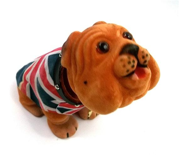 Union Jack Mod Carnival Prize Dog Nodder // Bobble Head // Dash Board Toy Puppy // Bulldog / 1960s