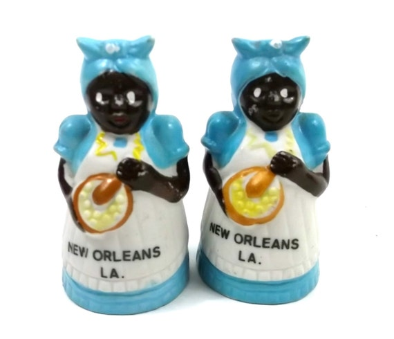 New Orleans Americana Bisque Salt and Pepper Shakers // Aunt Jemima Novelty Collectable Antique // Black Woman