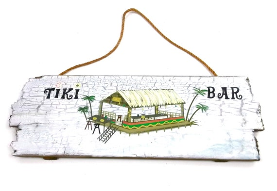 Tiki Bar Vintage Wooden Sign // Garden Outdoor Decor // Lawn ornament // planter // tropical