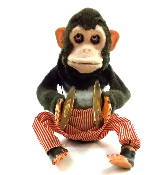 Antique Monkey battery operated // wind up style toy // Creepy macabre Cymbal Animal