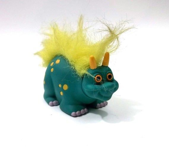 RUSS 1980s Dinosaur Toy  // Troll Friends // Little Cute Monster Fingurine / Vinyl Kitsch Animal Statue