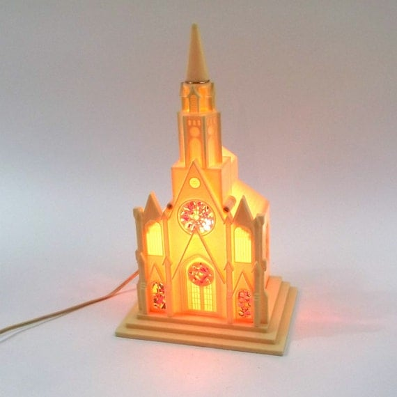 Cathedral Night Light Lamp // 1950s / 60s Mid Century Lighting // Church Chapel / catholic / Shrine